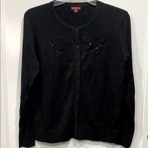 Sequined Bow Button Up Cardigan